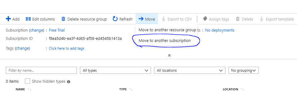 How to move Resource in Resource groups to another Subscription