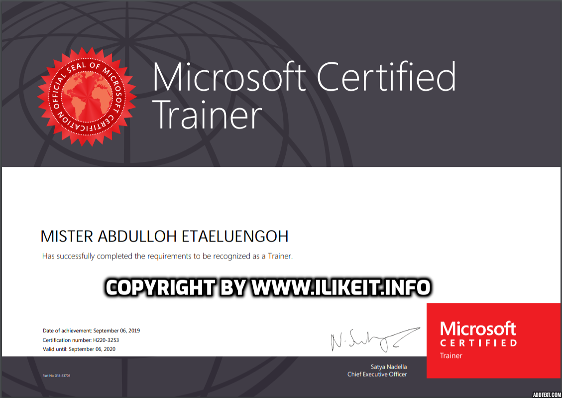 Microsoft Certified Trainer 2019-2020